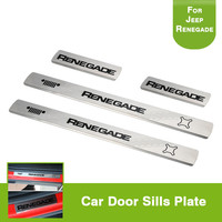 4Pcs Black Stainless Steel Door Sills Guards Plates For Jeep Renegade 2015 2016