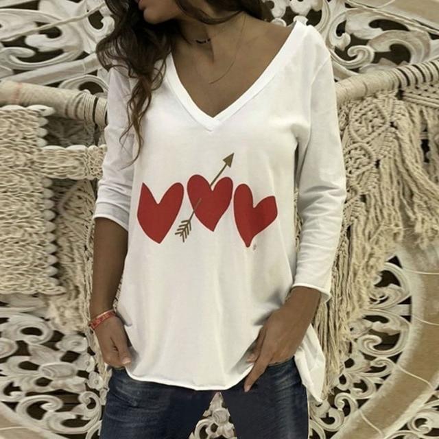 CALOFE 2019 Spring Heart Printed T Shirt Women V Neck Sexy Top Tees Ladies Tshirts  Long Sleeve Female Casual Loose Tee Shirts 8c19e2e61