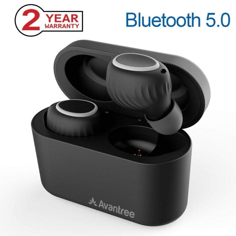 Avantree Bluetooth 5.0 True Wireless Earbuds with Portable Charging Case, Sweatproof Sport TWS Earphones, avantree ipx5 sweatproof tws wireless earbuds true wireless stereo bluetooth 4 2 headphones cordless earphones with mic