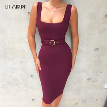2018 New Women Bandage Dress Summer Sexy Wine Red Apricot Black Spaghetti  Strap Belt Bodycon Club 15ddb719e