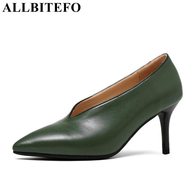 ALLBITEFO 3 colors genuine leather pointed toe high heels office ladies shoes fashion high heel shoes women pumps Sra zapato  allbitefo fashion sexy thin heels pointed toe women pumps full genuine leather platform office ladies shoes high heel shoes