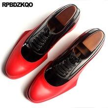 이탈리아 이탈리아 정품 가죽 활주로 남자 흑백 드레스 신발 고품질 쇠가죽 채찍으로 치다 브랜드 Oxfords Prom 대형 유럽