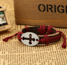 Christian Jewelry Leather Handmade Cross Bracelet