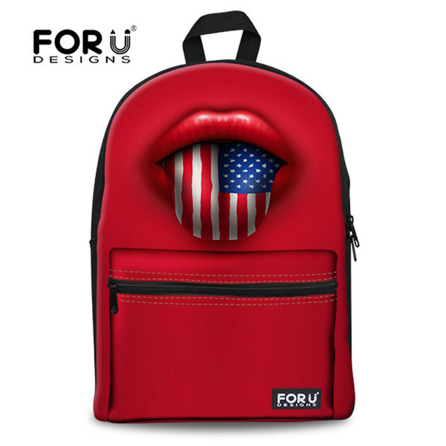 2017 Fashion Men's Travel Backpack 3D Red Lips Flag Printing Cool ...