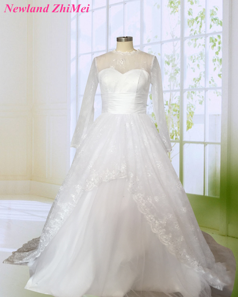 Romantic Sheer Illusion Mesh Tops Ball Gown Wedding Dress