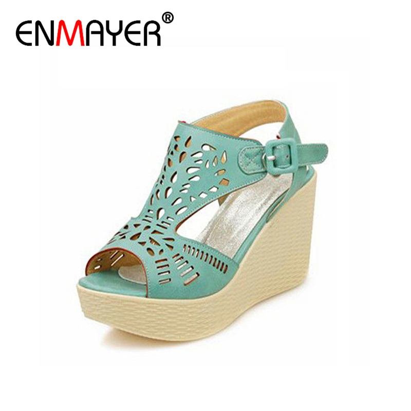 ФОТО ENMAYER Plus Size 3 Colors Ankle Strap Wedges High Heels Sandals Platform Party Wedding Shoes Woman Gladiator Sandals Women