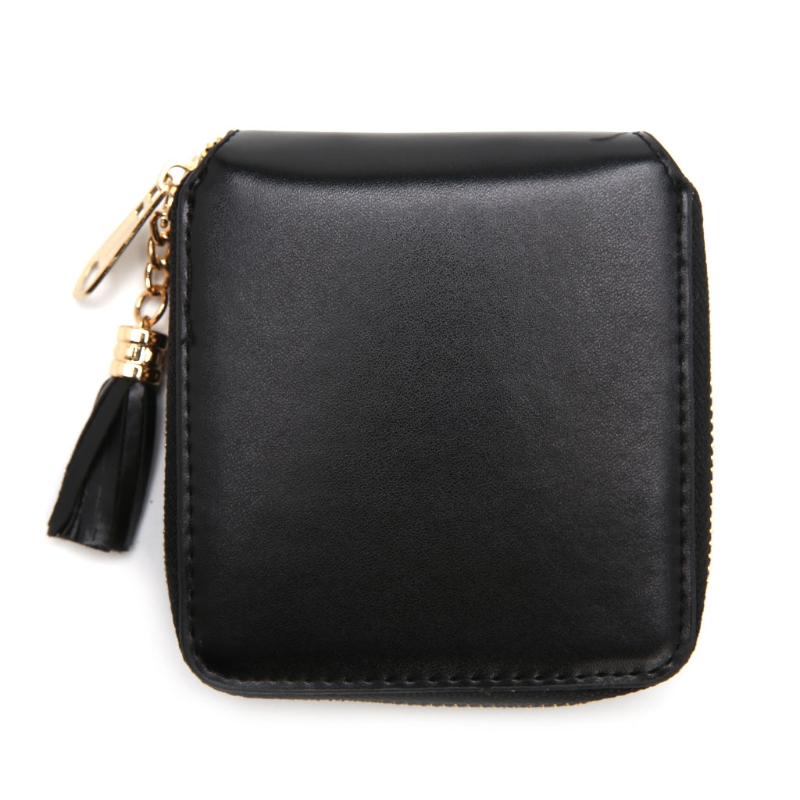 2017 Fashion Women Mini Wallet Purse Short Leather Lovely Girl Card Holder Zip Coin Purse Clutch Handbag Solid Tassel Brand New women purse solid color mini grind magic bifold leather wallet card holder clutch women handbag portefeuille femme dropshipping
