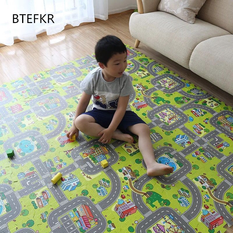 9pcs/set Baby Gym EVA Foam Mat Puzzles Baby Mat Play Floor Carpet Kids City Road Carpets Interlocking Tiles Children Speelkleed