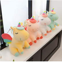 New Rainbow Wings Unicorns Plush Toy  Stuffed Animals Pink Unicorn Flying Horse Sleeping Doll Soft Baby Toy Gift for Baby Girl fancytrader ride on horse plush toy with wheels stuffed animals moving horse doll for kids 80cm 31inch