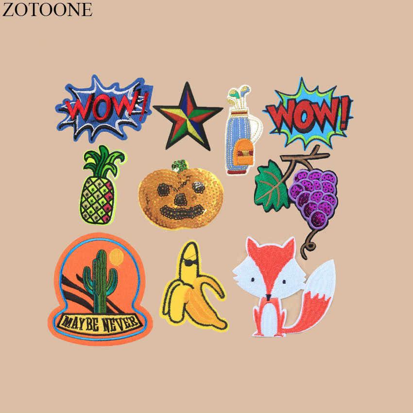 ZOTOONE 1 pièces dessin animé renard Patch WOW lettre patchs brodés pour enfants vêtements raisin citrouille paillettes Patch fer sur vêtements chapeau