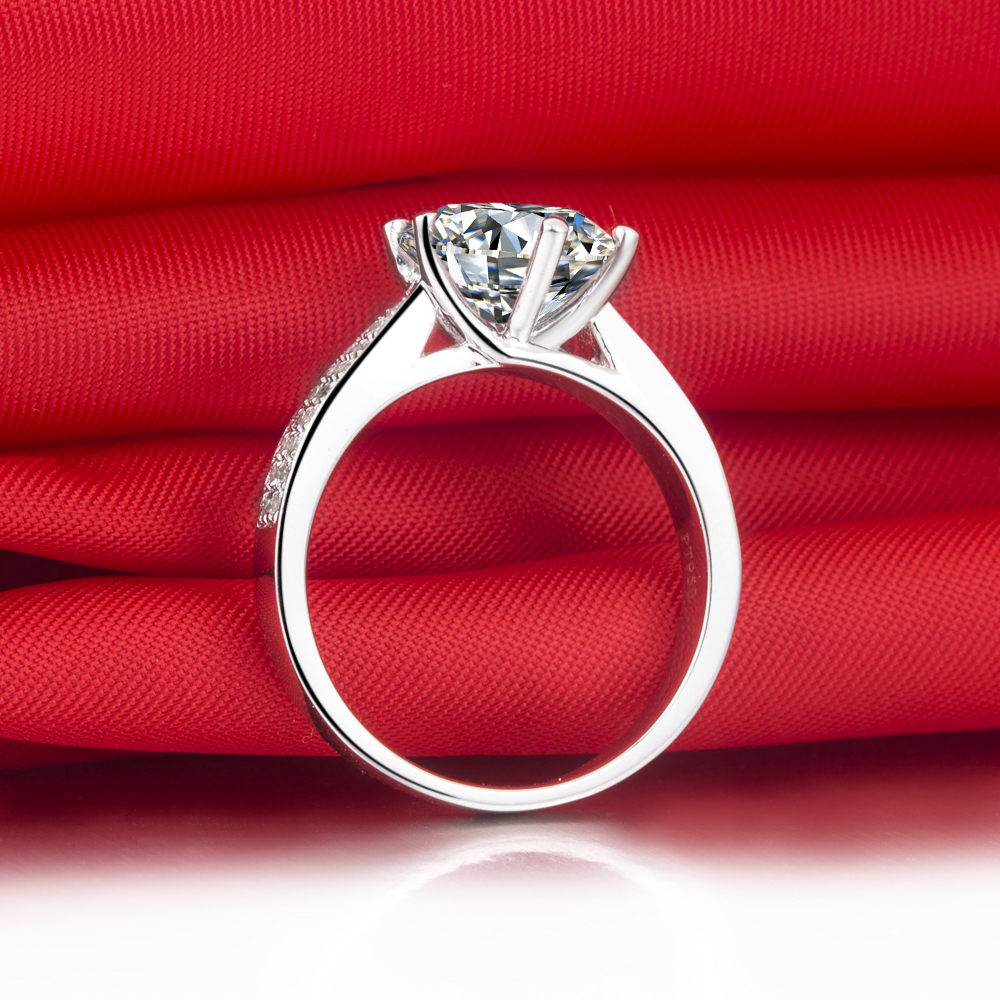 BONZER Luxury 2CT Synthetic Diamonds Wedding Rings Sterling Silver  Engagement Rings Women Band Paved Ring For Anniversary In Rings From Jewelry  ...
