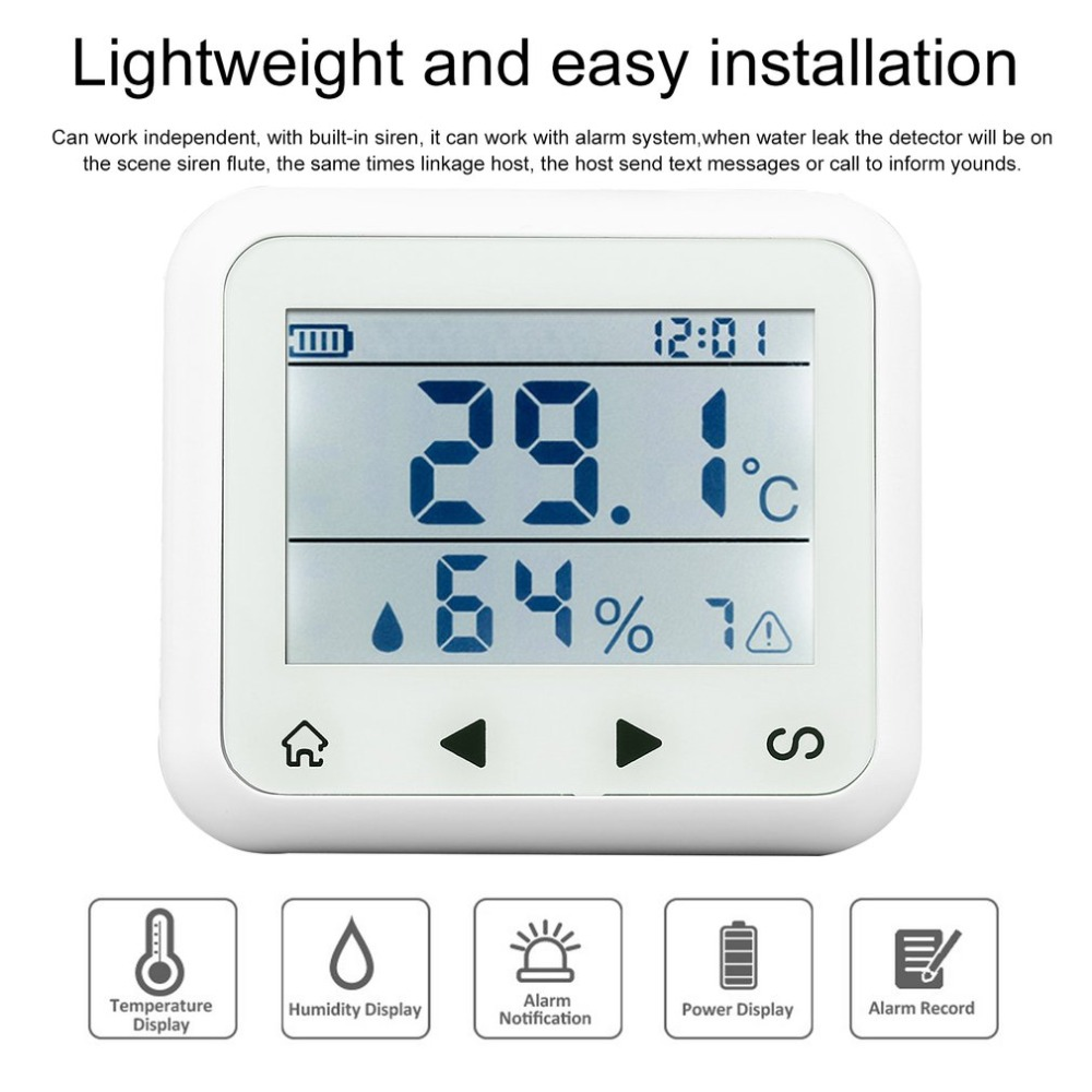 Secrui Wireless Temperature & Humidity Adjustable Sensor Thermometer & Humidity Detector Alarm With LED Display KR-TD32 digital indoor air quality carbon dioxide meter temperature rh humidity twa stel display 99 points made in taiwan co2 monitor