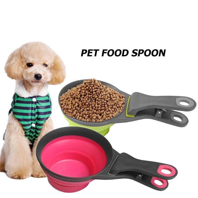 Pet Food Feeding Spoon Dog Cat Bowl Easy To Clean With Handle Puppy Foldable Scoop Cup Feeder Bowl Pet Supplies Measuring Cup