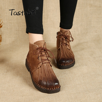 Handmade Ankle Boots Martin Flat Boots 100 Real Genuine Leather Shoes Retro Winter Snow Boots Botines