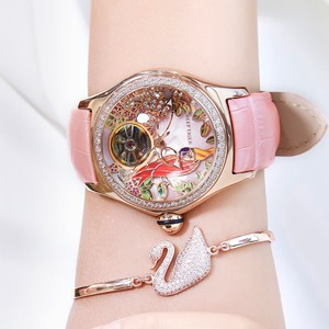 Image 5 - 2020 Reef Tiger/RT Womens Luxury Fashion Watches Diamond Automatic Tourbillon Watch Leather Strap Watch Relogio Feminino RGA7105