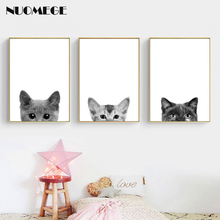 Nordic Poster Canvas Wall Art Pet Cat Dog Painting Minimalist Nursery Pictures Print for Kids Room Picture Decor