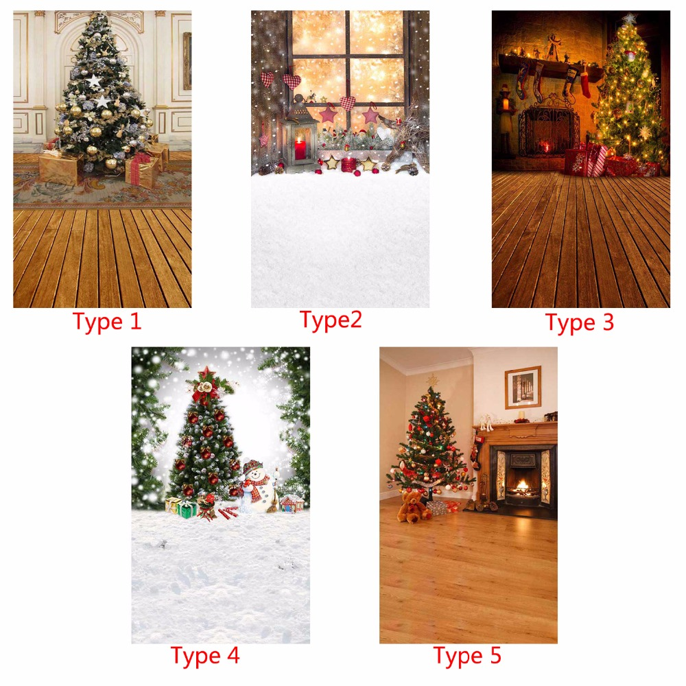 Vinyl Photography Background Christmas Tree Fireplace Gift Computer Printed Children Photography Backdrop for Photo Studio 5X7ft