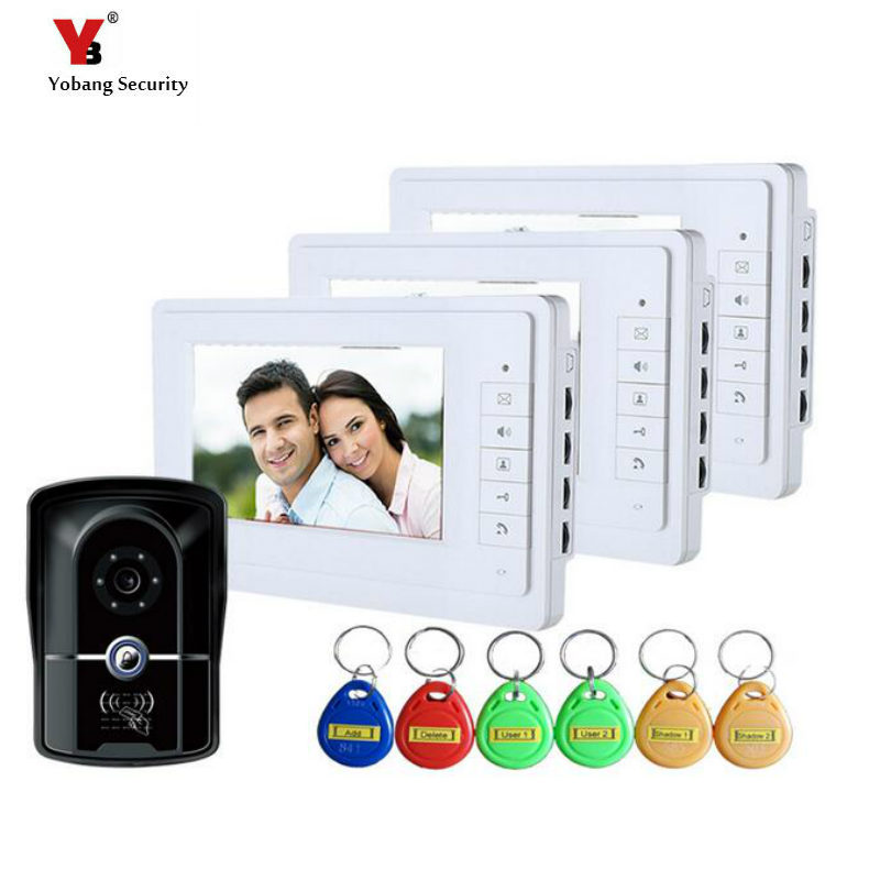 Yobang Security 7inch Video Intercom System 5 Pcs RFID Reader Camera Video Doorbell Phone Waterproof Survelliance Camera System