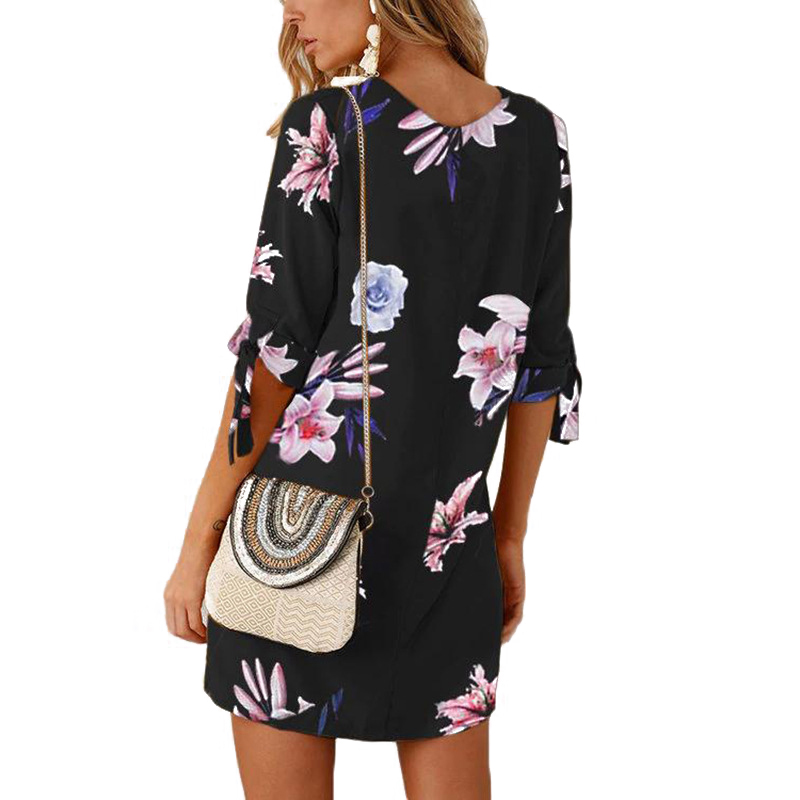 Women Floral Long Tops Blouse Ladies Summer Mini Beach Dress