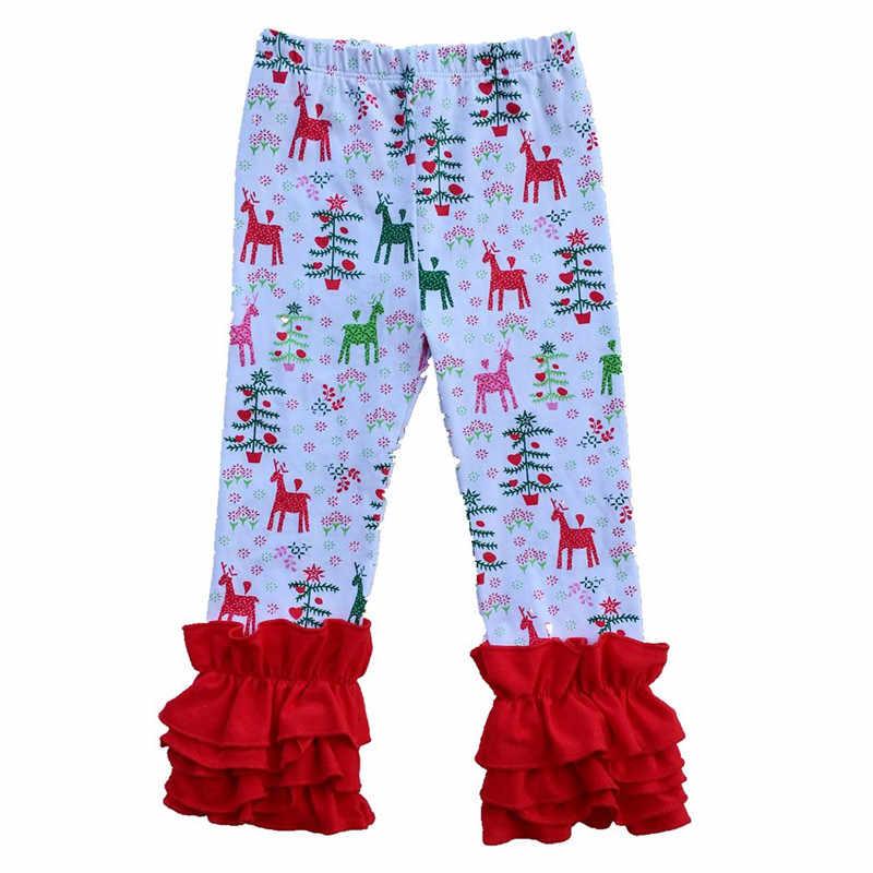 a2f9269c63f05e Knit Cotton Baby Girls Pants Pink Stripe Children Girls icing Leggings  Triple Baby icing Ruffle Pants