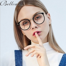 Bellacaca Optical Spectacles Women New Fashion Prescription Glasses Round Eyeglass Frames Transparent Clear Lens Eyewear BC828