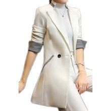 1a14376af33 Long Blazer Women Single Breasted Slim Fit White Casual Blazers Women  Mantel Damen Jas Dames Louson Femme Ladies Coats XB32