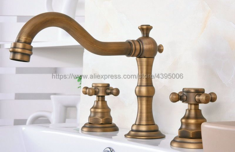 Antique Brass Widespread Three Holes Basin Sink Faucet Deck Mounted Double Handle Bathroom Sink Mixer Taps Ban074-in Basin Faucets from Home Improvement    1