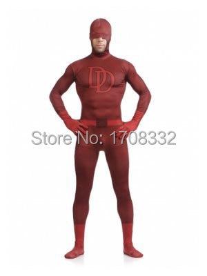 Daredevi Super Hero Costume Red One Piece Tight Superhero Costume Spandex Full Body Suit