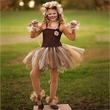 חמוד האריה מלך קריקטורה בעלי החיים קוספליי טוטו שמלת ילדי מסיבת חג מולד שמלות עבור בנות הברך אורך שמלת סט תינוקת בגדים