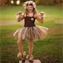 Cute Lion King Cartoon Animal Cosplay Tutu Dress Kids Christmas Party Dresses for Girls Knee Length Dress Set Baby Girl Clothes