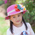 Free shipping Fashionable Children Sun hat  Summer Color Flower Girl Straw Hat Cap circumference 51-52 cm
