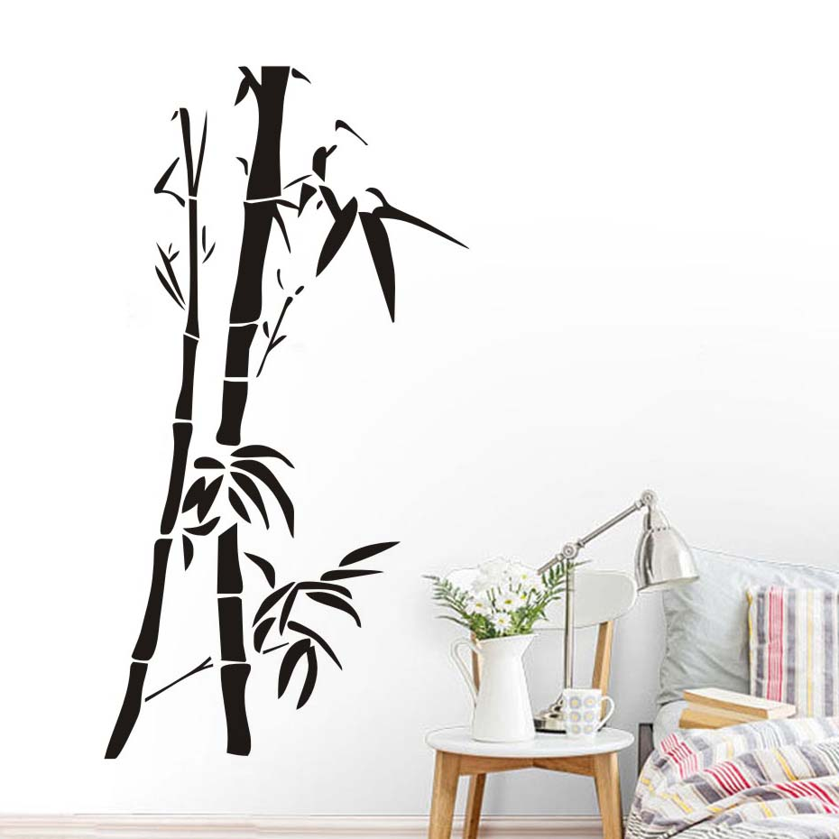 Chinese Wall Art Bamboo Wall Stickers For Living Room Wall Decor
