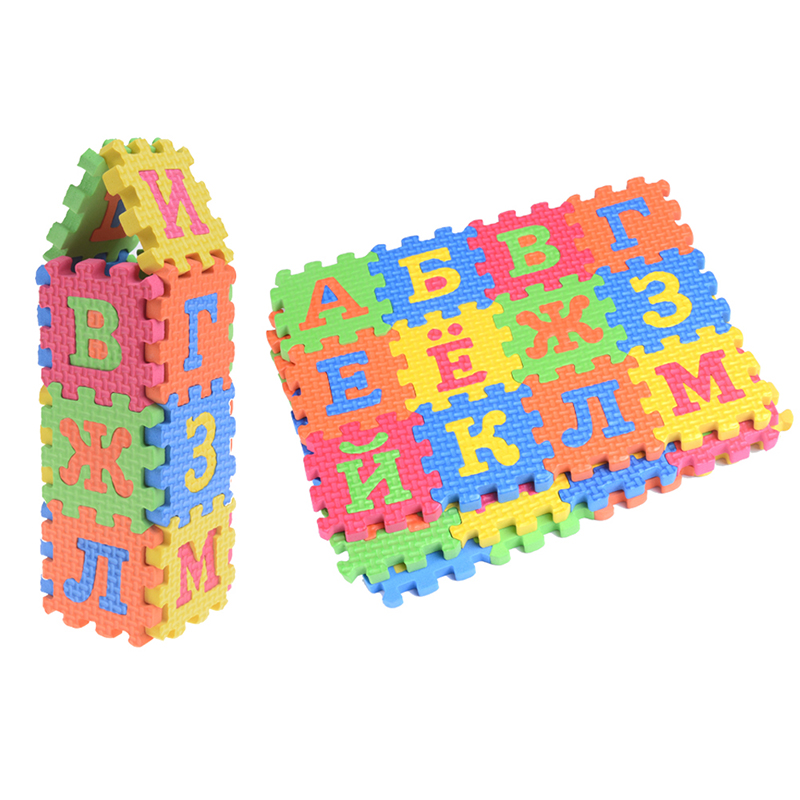 60Pcs Baby Foam Puzzle Mats Toys Russian Alphabet Numerals Soft Floor Kids Crawling Play Mat Children's Carpet Learning Game