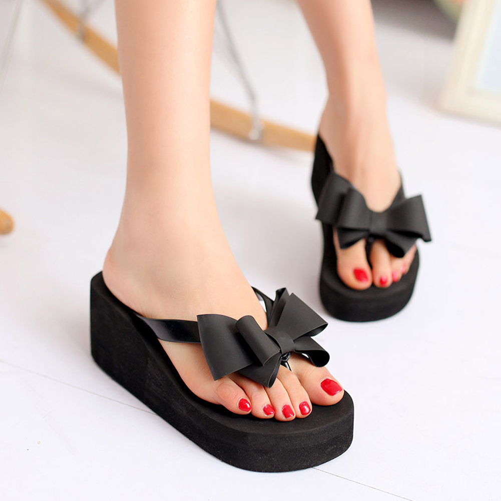 <font><b>Women</b></font> Fashion Summer Chunky Sole <font><b>Wedges</b></font> <font><b>Heels</b></font> Flip Flops Casual <font><b>Shoes</b></font> New Arrival Waterproof <font><b>Slippers</b></font> <font><b>Sexy</b></font> Lady Sandals image