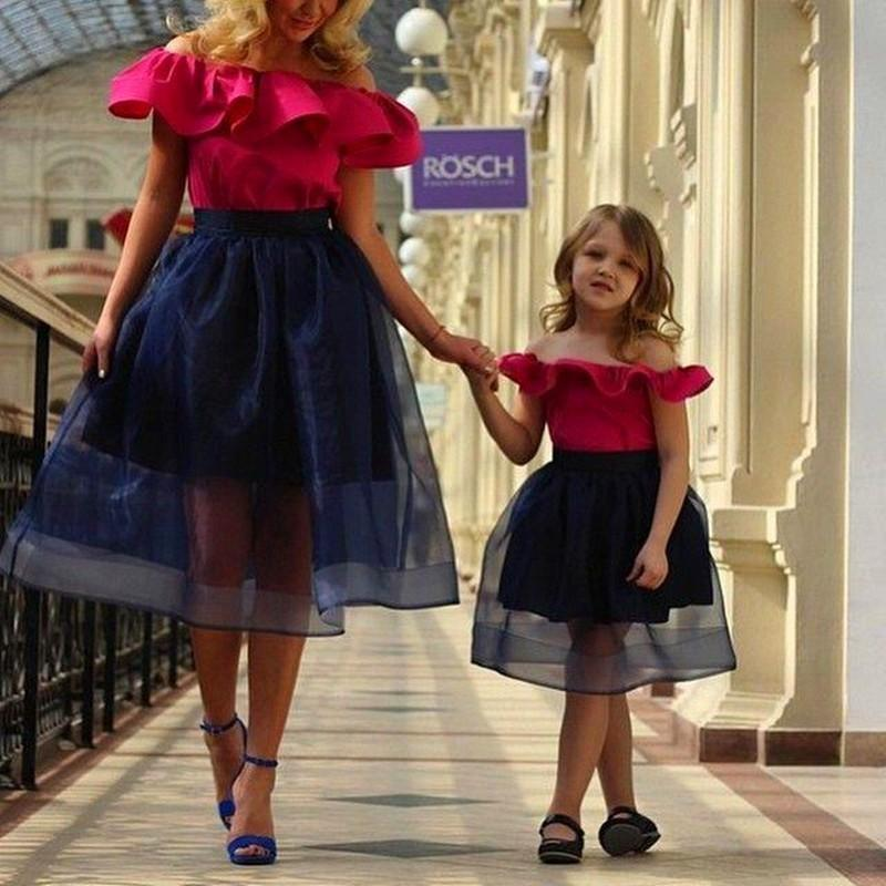 91f43c4489 Fuchsia Navy Blue Organza Mother Daughter Matching Dresses Short Cocktail  Prom Gowns 2016 A Line Childrens Birthday Dresses
