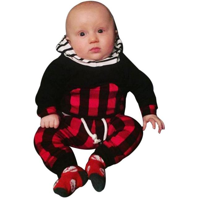 Outfit Clothes 2017 Fashion Autumn Winter 2pcs Toddler Infant Baby Boy Clothes Set Striped Plaid Hoodie Tops+Pants Outfits D50