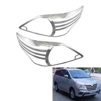 Chrome Headlight Cover Trim For Toyota INNOVA 2012 Head Lamps Shell Frame Decoration Car Accessories image