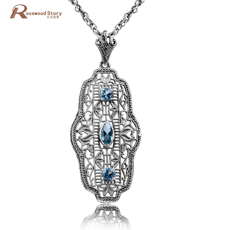 Hot 925 Sterling Silver Jewelry Vintage Pendant Leafage Pattern Round Blue Stone Crystal Pendant Necklaces for Women Choker