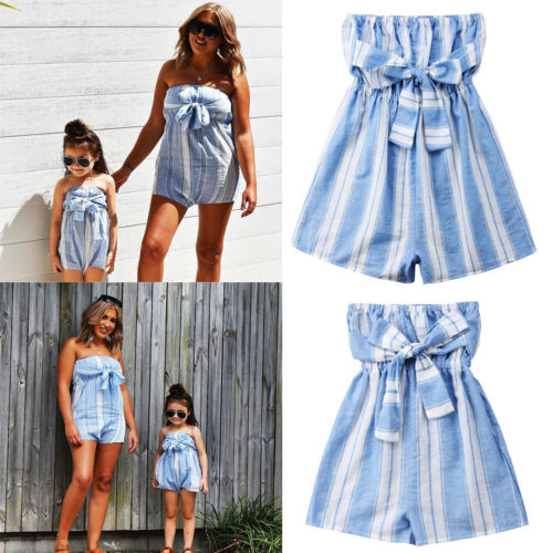 0413db2695 2018 New Summer Family Matchin Blue Striped Jumpsuit Mother Daughter Women  Kids Girls Bandeau Romper Jumpsuit Playsuit Clothes