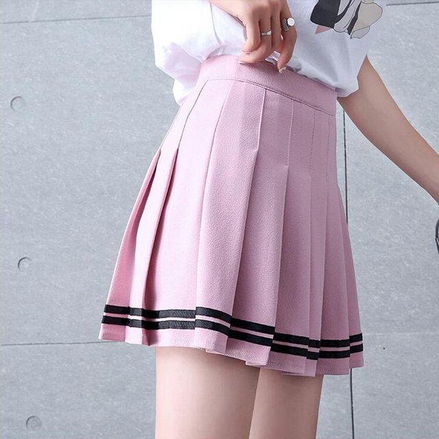 Women's Pleated Striped Skirt