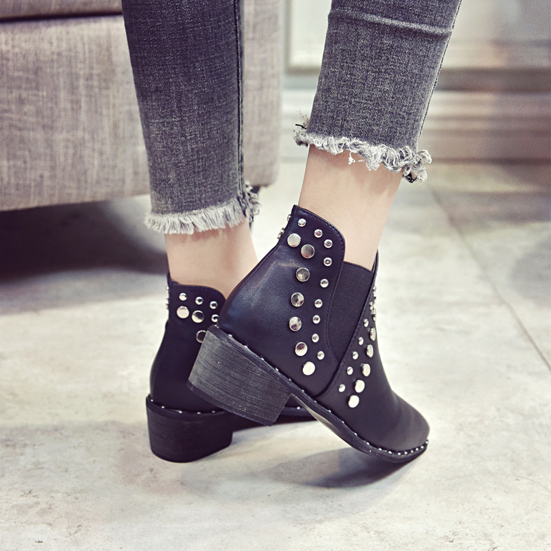 ASILETO Marke Schuhe für Damen Stiefel Spitzschuh Stiefeletten für Damen Rivet Botte Femme Botines femininos botas S322