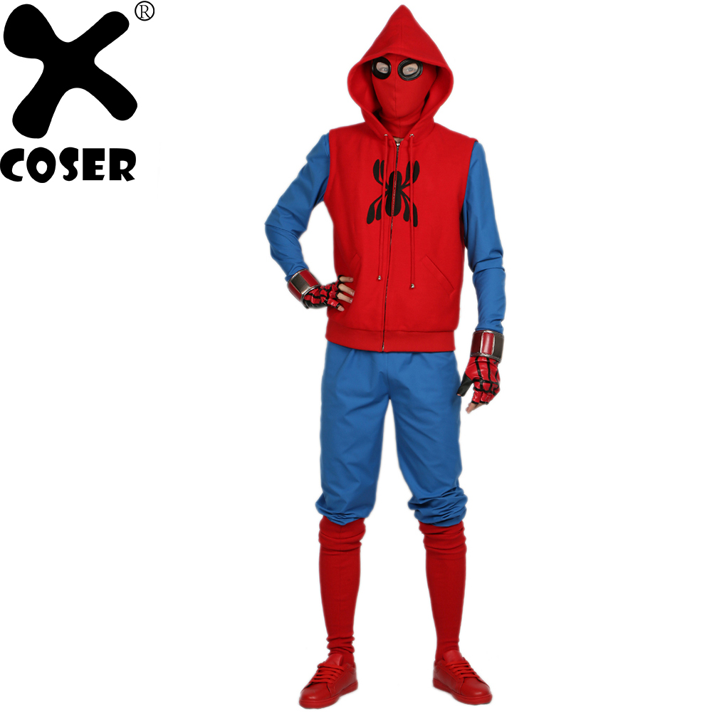 XCOSER Hot New Spider Man Maison Costume Film de Super Héros Spider-Man Homecoming Cosplay Tenues Halloween Costume pour Hommes Adulte
