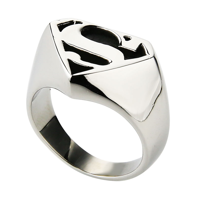 Valily Jewelry Man's Batman Ring Silver Motor Biker Superman Rings - Mode-sieraden - Foto 2
