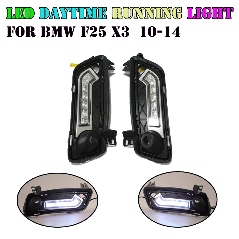 CAR Specific LED DRL Driving Daytime Running Day Light Lamp For BMW X3 F25 2010-2014 front parking drl turn signal light brand new set led drl daytime running daylights for bmw f25 x3 2010 2014 front driving bumper fog lights dimmable drl lamp