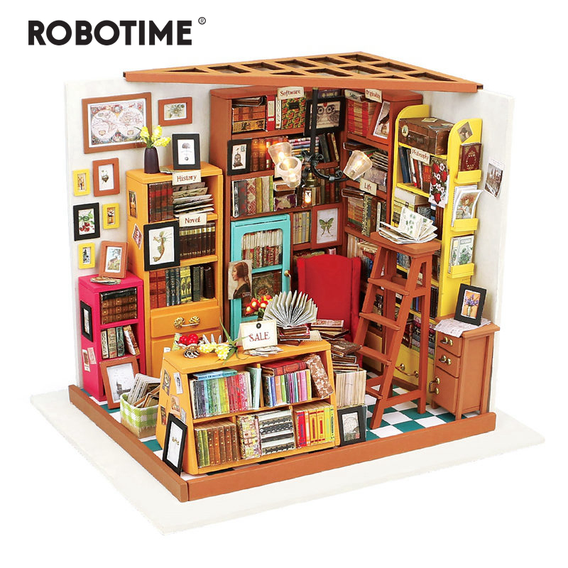 Robotime DIY  Sam's Study Room with Furniture Children  Miniature Wooden Doll House Model Building Kits Dollhouse Toy DG102