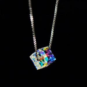 Ожерелье из серебра с кристаллами в виде кубика, ожерелье с четырехлистным клевером и цветком для женщин