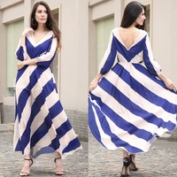 Striped Womens Elegant Summer Long Sleeve Vintage Casual Office Party Beach Holiday Fitted Loose Bohemian Maxi