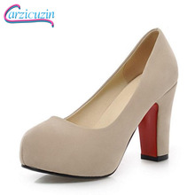 Купить с кэшбэком CarziCuzin Size 32-43 Ladies Thick High Heeled Round Toe Pumps Flocking Platform Shoes Women Party Office Sexy Solid Color Shoes