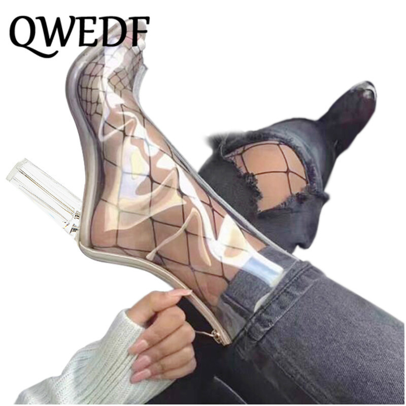 Qwedf Sexy Pvc Transparent Boots Sandals Peep Toe Kim Kardashian Shoes Clear Chunky Heels Sandals Mujer Women Boots 11cm Sq 10 Leather Bag