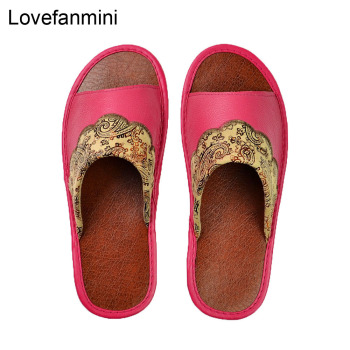 Genuine Cow Leather slippers couple indoor  non-slip men women home fashion casual single shoes PVC soft soles spring summer 516